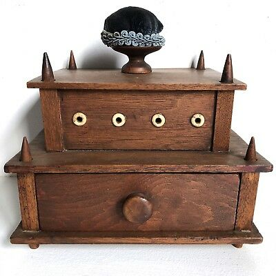 Antique Shaker Sewing Box Carved Bone Thread Holes Pin Cushion Thread
