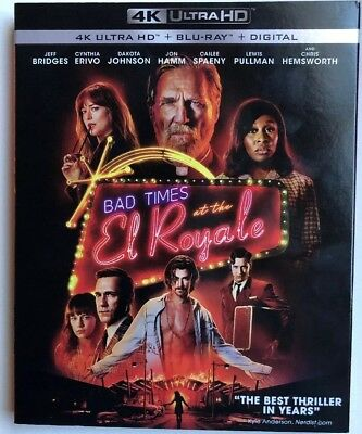 Bad Times At The El Royale (4K UHD + Blu Ray + Digital) Like New With Slipcover