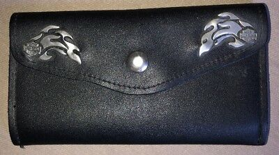 Harley Davidson Motorcycles Womens Black Leather Silver Flames Tri-Fold Wallet