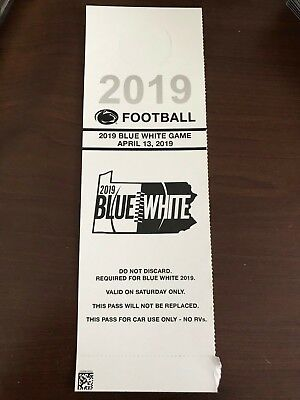 2019 Penn State Blue White Game Car Parking Pass  PSU 4/13/19
