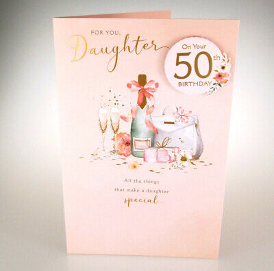 Daughter On Your 50th BIRTHDAY Pretty Hand Finished Happy 50 Birthday Card