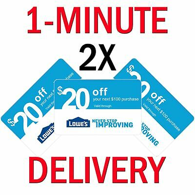 𝟐× Lowes $20 OFF $100Coupon Exp 𝟑/𝟑𝟏/𝟏𝟗 In-Store/Online - Instant Delivery