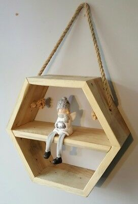 Handmade Reclaimed Shelf Wall Display Unit With Rope Strong Rustic 12 Tones