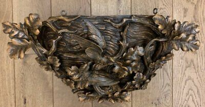 Circa 1920 Black Forest (Brienz) Hand-carved Nest with Birds, Acorns and Acorn's