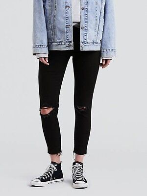 91994fcf LEVIS WOMENS WEDGIE Skinny 16W Black Ripped Jeans - $16.00   PicClick
