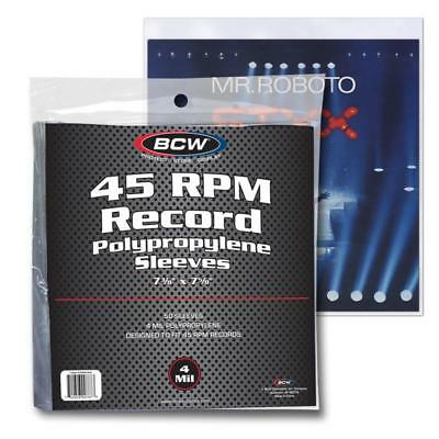 1 PACK OF 50 BCW 45 RPM Record Album Sleeves 4 MIL Clear Plastic Polypropylene