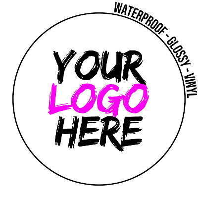 LOGO Printed Vinyl Round Stickers - GLOSSY Waterproof Custom Logo -Personalised