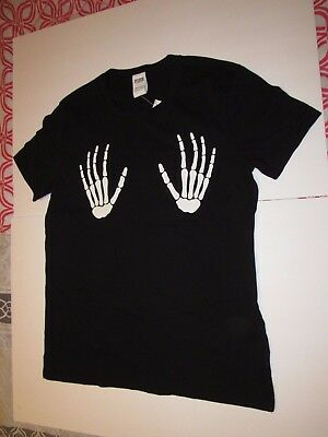 f7f652a41b Victorias Secret PINK Halloween Tee-Shirt Graphic Top Size Small NWT  Skeleton