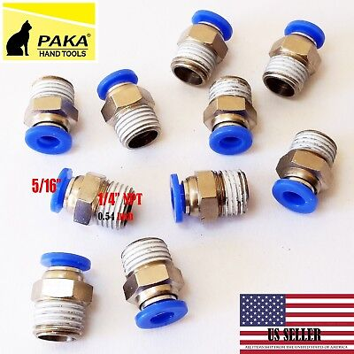 "5 Male Straight Connector Tube OD 5/16"" (8mm) X  NPT 1/4 PU Air Push In Fitting"