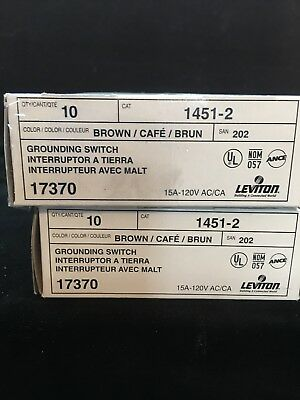 20 Brown Leviton  Toggle Wall Light Switches Single Pole 15A 120V 1451-2
