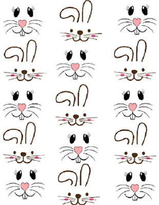 1 inch Bunny Faces Waterslide  Craft ( wood- ceramic- ornaments) Decals