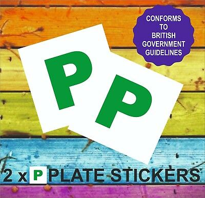 P PLATE STICKERS X 2 (Passed New Driver Stickers) Conforms to GB regulations