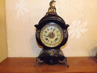Antique New Haven Cast Iron Clock U.s.a