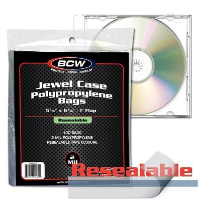 Pack of 100 BCW Resealable CD Jewel Case Acid Free 2-Mil Clear Poly Bags