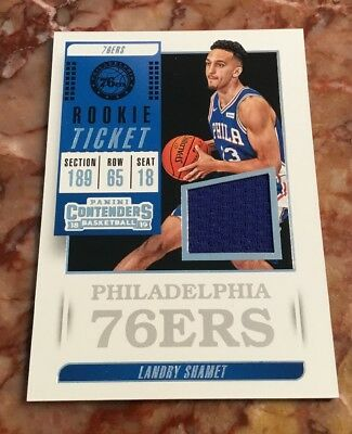 5f474af8 Landry Shamet 2018-19 Panini Contenders Rookie Ticket Jersey Relic RC 76ers