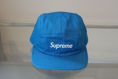 7b284ca7 Supreme Overdyed Ripstop Camp Cap Blue FW17 DS New Hat Strapback White  Black Lot