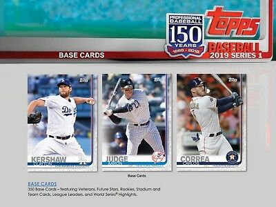 Topps Baseball Series 1 2019 Complete BASE Set of 350 Cards