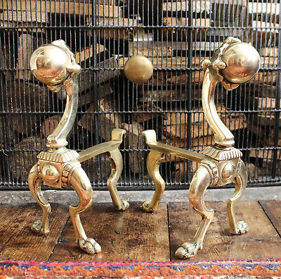 An Unusual Pair Antique c19th Brass Fire Dogs, Ball & Claw Capital, Hairy Paws
