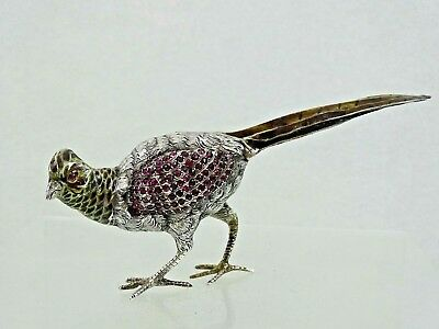 ANTIQUE AUSTRIAN Vienna SILVER ENAMEL MINIATURE BIRD PHEASANT gemset real ruby