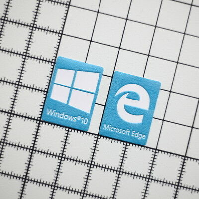 Windows 10 + Microsoft Edge vinyl sticker set l blue High Quality  for PC laptop