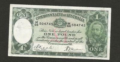 1933 One Pound - Riddle/sheehan - George V - Circulated Condition