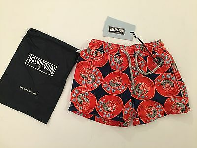 New w Tags & Bag Authentic Vilebrequin Swim Trunks / UNISEX - RED 2T / 2Y Kids