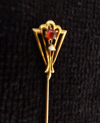 Vtg Antique 10K Yellow Gold Art Deco Hatpin Stick Pin Red Stone and Seed Pearl