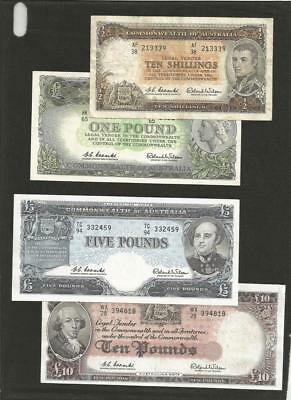 1960 To 1961 Coombs/wilson Complete Set - *reserve Bank * - 4 Notes - Circulated