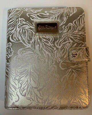 Lilly Pulitzer Agenda Folio Gold Leaf Leatherette Cover Pen Loop New With Tags
