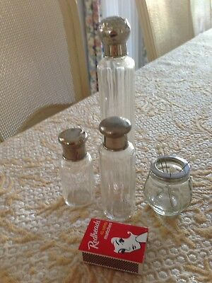 Antique Hat Pin Container Dressing Table Perfume Glass Jar Set of 4 stand