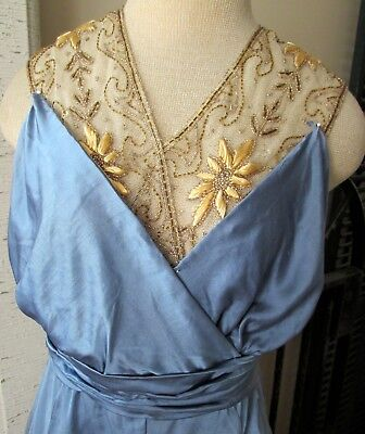 Antique Titanic Era Azure Blue Silk Asymmetrical Gold Embroidered & Beaded Dress