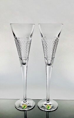 Waterford Crystal Diamond Line Champagne Flutes Rare New Without Box