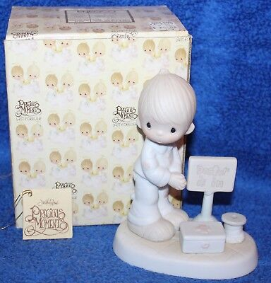 LORD GIVE ME PATIENCE E-7159 Precious Moments Figurine Boy * Doctor is in *