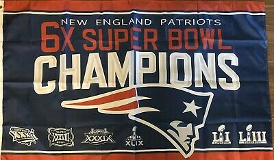 New England Patriots 6x SUPER BOWL 53 CHAMPIONS FLAG 3x5 2018 2019 LIII Brady