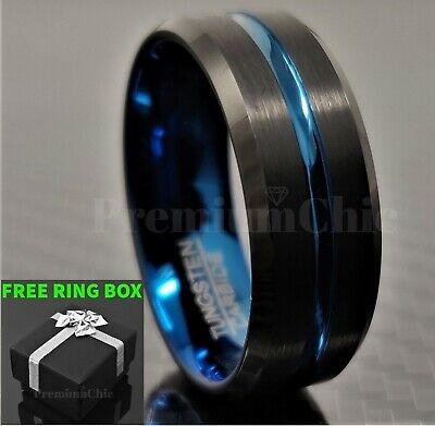 Black Tungsten Carbide Band Engagement Ring Thin Blue Line Men's Jewelry
