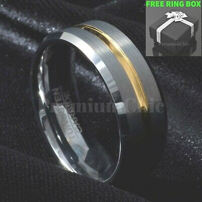 Men's Tungsten Carbide Band Ring Bridal Jewelry with Gold Line Brushed Silver