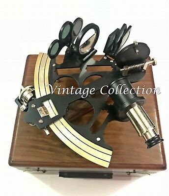 """Vintage Brass Nautical Sextant 8"""" Marine Ship Working Instruments in Wooden Box"""