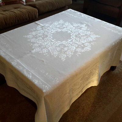 Beautiful Vintage White Damask Tablecloth Supper Cloth 122 x 127