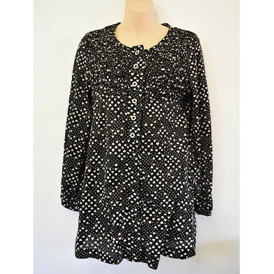 Vintage 1960s 2pc Playsuit Black White Hearts Top and Shorts Size W