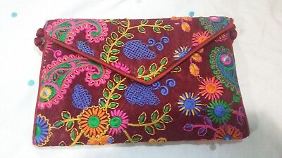 Traditional Hand Made Colorful Clutch Bags Purse Maroon