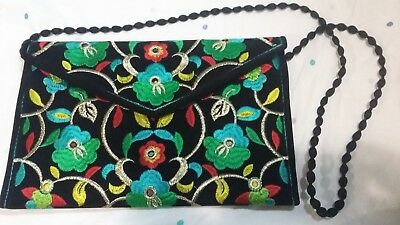 Traditional Hand Made Colorful Clutch Bags Purse Black With Floral Prints