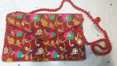 Traditional Hand Made Colorful Clutch Bags Maroon