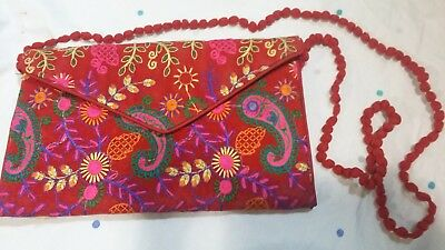 Traditional Hand Made Colorful Clutch Bags Maroon With Design
