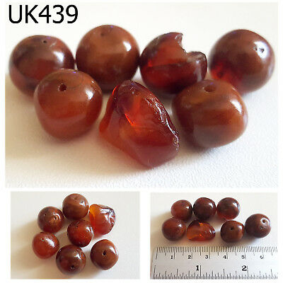 Lot 7 Old Red Carnelian Agate Natural Carved Ball Beads #UK439a