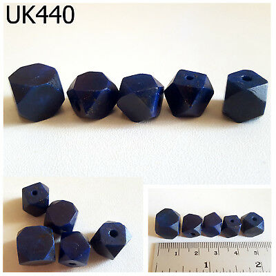 Lot 5 Ancient Style Lapis Lazuli w/Pyrite Carved Faceted Ball Bead #UK440a