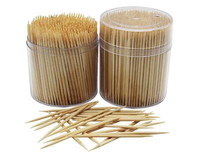 Toothpicks Wooden Bamboo Appetizers Cocktails Fruit Barbecue Party Safe 1000pcs