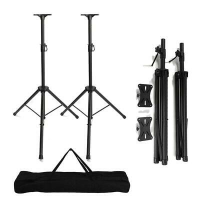 A Pair Universal Adjustable Heigh Tripod DJ PA Speaker Stands w/Carry Bag US