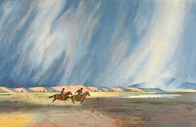 "Peter Hurd ""A Race With The Rain"" Artist Proof Serigraph New Mexico Western"
