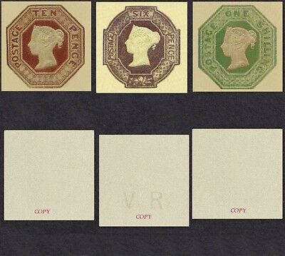 Queen Victoria Embossed Set of 3 (forgeries)