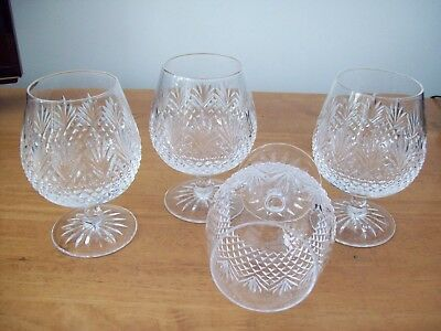 4 X EDINBURGH  CRYSTAL ' TWEED ' BRANDY GLASSES Signed!